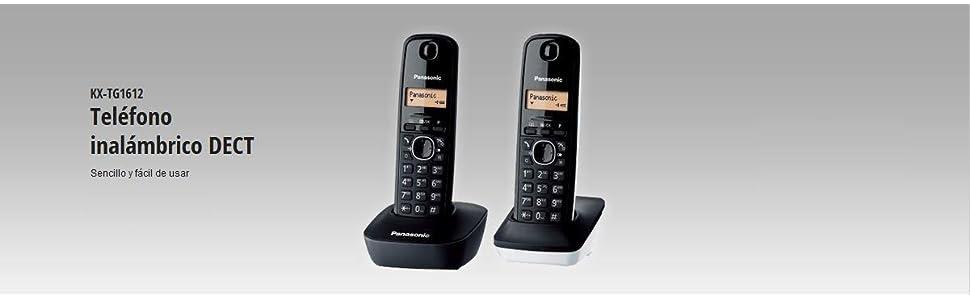 Panasonic KX-TG1612FRW - 2 teléfonos fijos inalámbricos DECT, Color Blanco/Negro (Importado) [versión importada]: Amazon.es: Electrónica