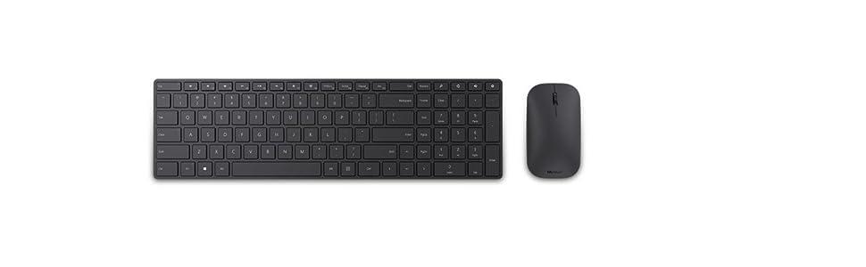 Microsoft – Designer Bluetooth Desktop, Ratón y teclado QWERTY español, Negro