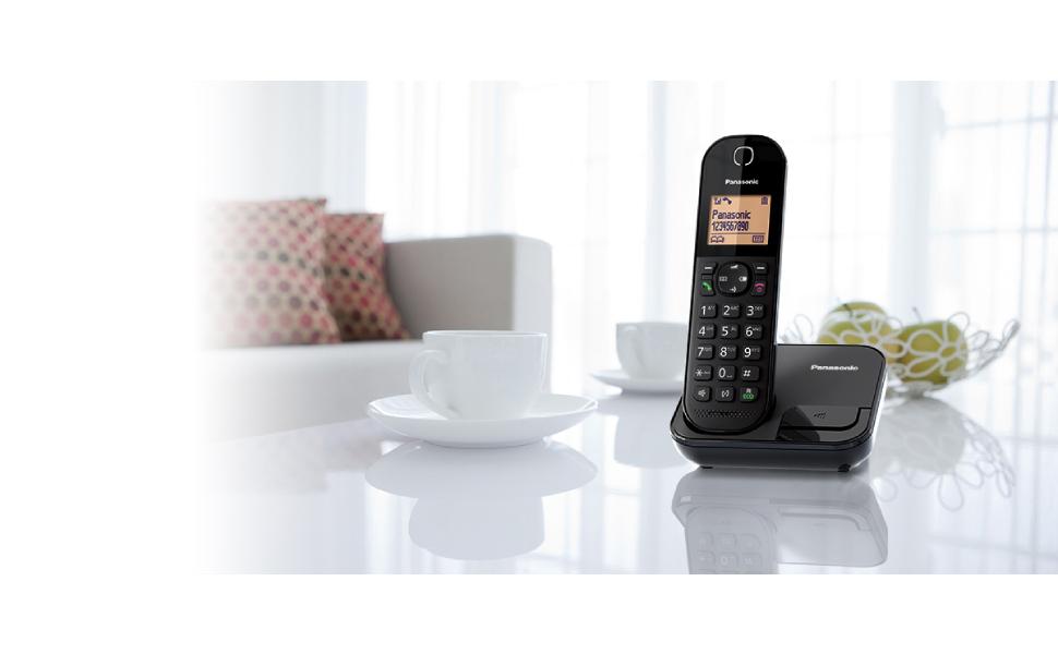 Panasonic KX-TGC410 DECT Cordless Phone Stylish, Compact Base Unit – Black