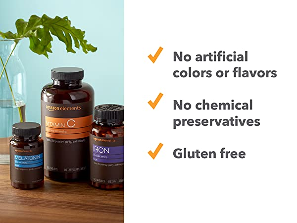 Chemical free, gluten free, vitamins, supplements, Amazon Elements, daily vitamins
