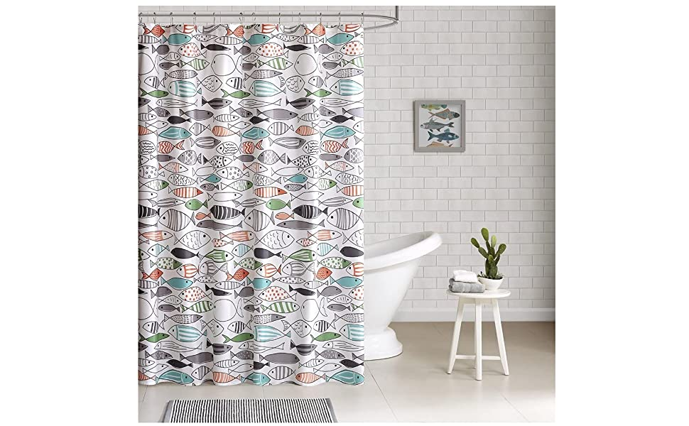 Hipstyle Sardinia Modern Multi Color Fish Cotton Printed Designer Shower Curtain 72 X 72 Machine Washable Home Kitchen