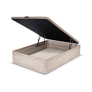 duehome Luxury-Canapé Somier Abatible Dormitorio, Base Tapizada en Tejido 3D, MDF, Roble, 150 x 190 cm