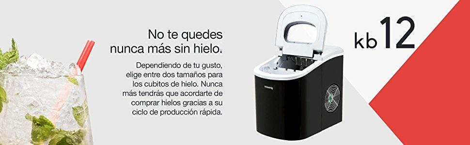 H.Koenig KB12 Máquina silenciosa para Hacer Hielo, 100 W, Capacidad 12 kg, Entre 6 y 13 Minutos, 2 Tamaños de Cubitos, Negro, Plástico, 90 W, Acero ...