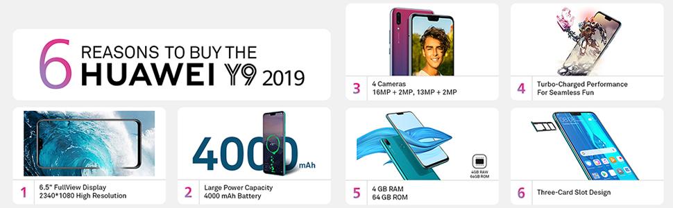Huawei Y9 2019 Dual SIM - 64GB, 4GB RAM, 4G LTE, Arabic Black