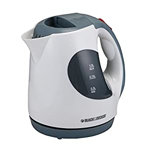 Black & Decker 1 Liter Concealed Coil Electric Kettle, Grey/White - Jc120-B5, Plastic Material