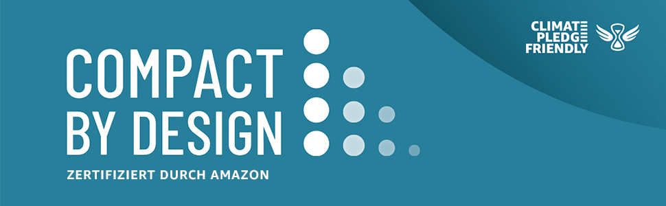 Compact By Design. Certified by Amazon. Climate Pledge Friendly.