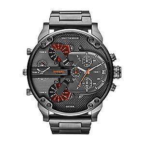 Diesel Mr. Daddy For Men Analog Gunmetal Ion Plated Stainless Steel Band Watch Dz7315, Quartz