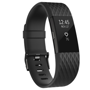 Fitbit Charge 2 Heart Rate & Fitness Wristband, Black/Gunmetal, Large