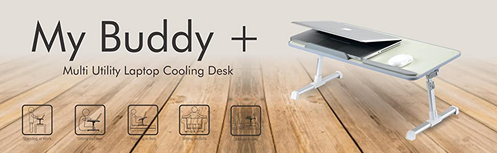Adjustable & Portable Laptop Table/Stand With Cooling Fan