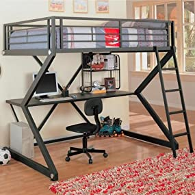 Amazon Com Parkview Full Workstation Loft Bed Black Kitchen Dining