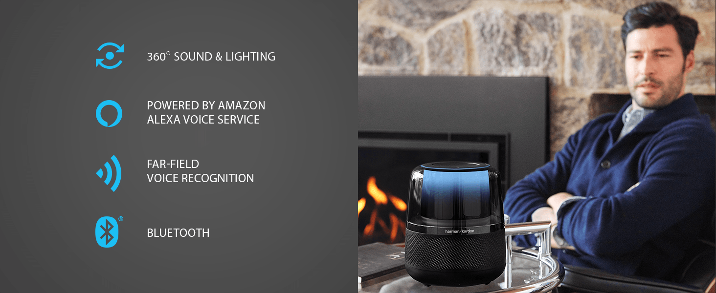 360 degree sound and light, Amazon Alexa-enabled, Far-field voice recognition, Bluetooth