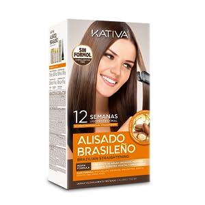 Kativa Pack Ahorro Kit Alisado Brasileño com Champú Post Alisado - Tratamiento Alisado Profesional En Casa - Hasta 12 Semanas de Duración - Alisado ...