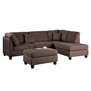 Poundex F7608 Bobkona Dervon Linen Like Left Or Right Hand Chaise Sectional With Ottoman Set Chocolate Furniture Decor