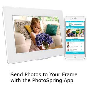 PhotoSpring (16GB) 10-Inch IPS, WiFi, Touchscreen, Battery, iPhone & Android App, Photo & Video, Picture Frame (White) 15,000 Photo Capacity 75