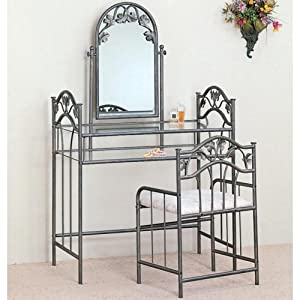 Coaster Home Furnishings Traditional 3 Piece Metal Vanity Table Stool  Mirror Set