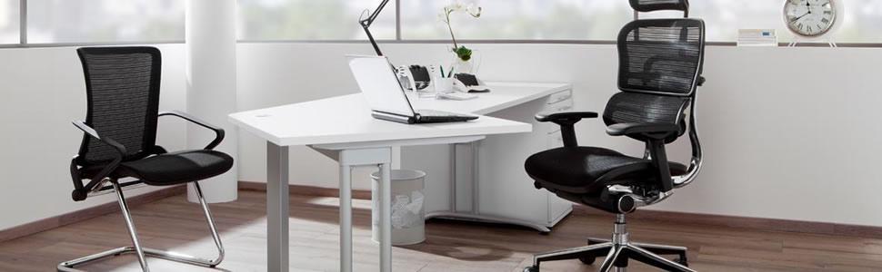 hjh OFFICE 657110 silla de oficina VENUS BASE asiento tejido / respaldo malla azul / negro silla ergonómica