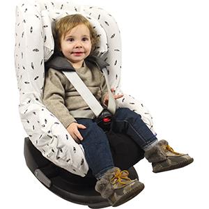 Original Dooky Black Feather Sitzbezug f/ür Kindersitz universale Passform f/ür viele g/ängige Modelle Altersgruppe 1 9-18kg f/ür 3 und 5 Punkt Gurtsystem wei/ß//schwarz
