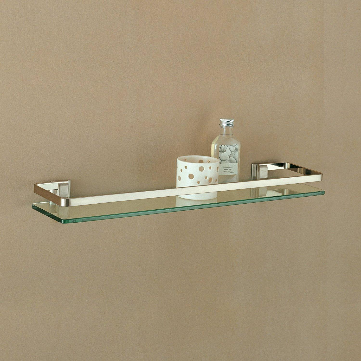 Amazon.com: Organize It All Wall Mounting Glass Shelf with Nickle ...
