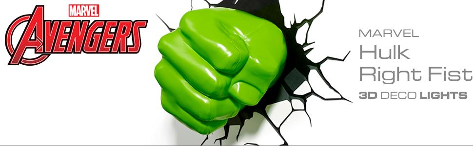 Marvel, Avengers, Hulk, Fist, 3D Deco Light, nightlight, LED bulbs, cordless, battery operated