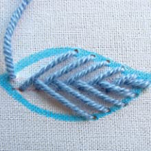 Thread embroidery,embroidery,embroidery guide,fishbone stitch,stitched leaves,leaves,flowers,floral