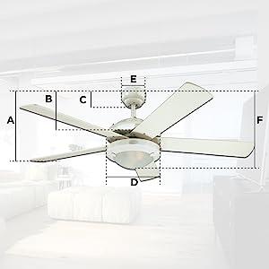 Ceiling fan dimensions chart