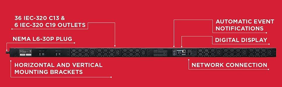 CyberPower PDU31106 Monitored PDU 0U Rackmount 200-240V // 30A 42 Outlets