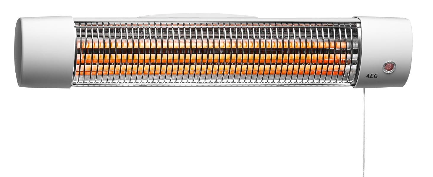 234820 AEG Haustechnik 2 Heizstufen 1200 Watt AEG Infrarot Quarz-Heizstrahler IWQ 121 für das Bad
