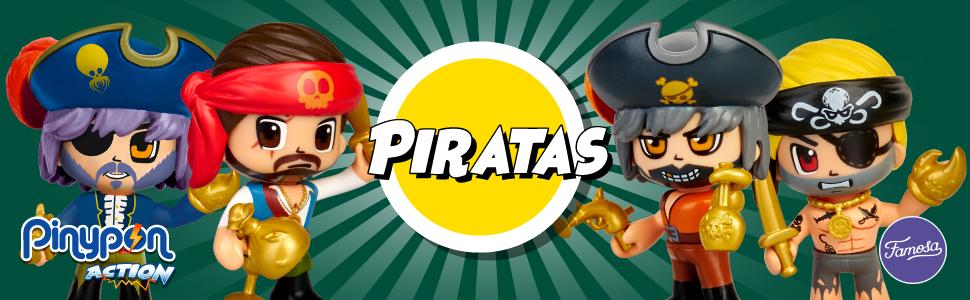Pinypon Action- Piratas pack 2 figuras con accesorios, para niños ...