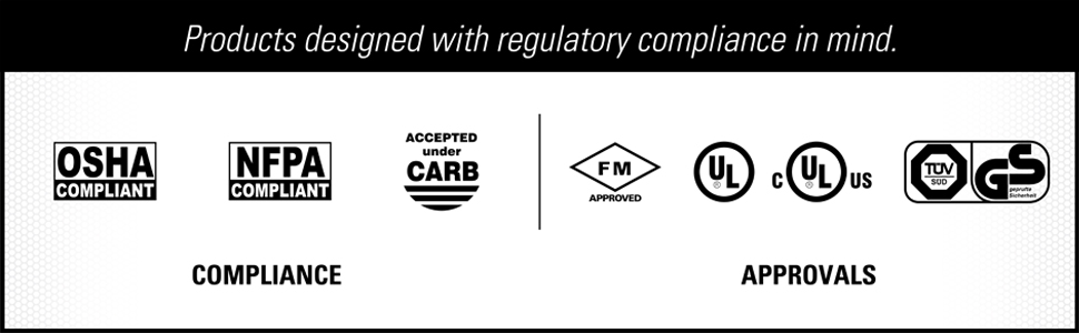 OSHA NFPA Compliant  accepted under CARP FM UL ULC approvals