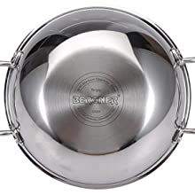 Bergner Hi-Tech Prism Triply Stainless Steel Wok, Triply Wok, Hi-Tech Wok