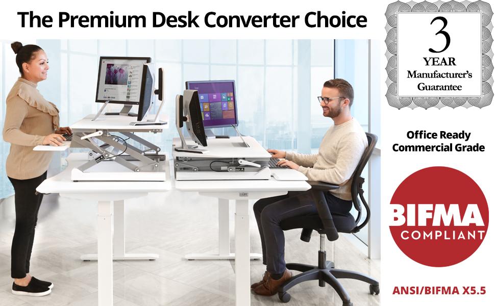 sevilleclassics standing desk converter white black sit stand gas spring manual up down adjustable