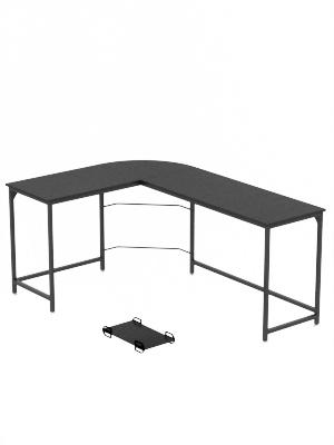 Amazon Com Weehom Reversible L Shaped Desk Corner Gaming Computer Desks For Home Office Pc Workstation Table Black Kitchen Dining