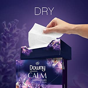 dry, downy infusions dryer sheets, drying sheets, downy calm scent, fabric softener, fabric sheets