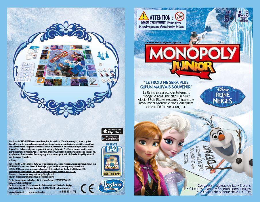 Hasbro b22471010 jeu de plateau monopoly junior - Jeu reine des neige gratuit ...