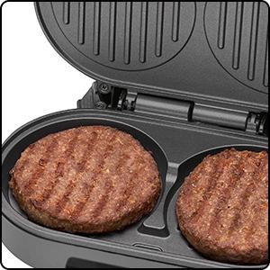 Clatronic HBM 3696 Grill Parrilla para Calentar Hamburguesas, 1000 W, Acero Inoxidable