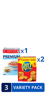 RITZ Crackers amp; Premium Saltine Crackers Variety Pack, Family Size, 3 Boxes