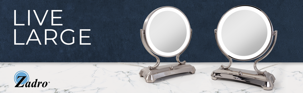 Zadro Glamour Vanity Mirror Polished Satin Nickel 1X 5X