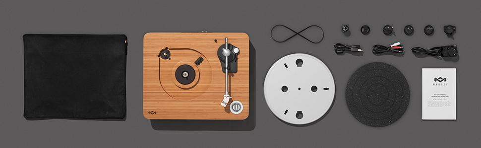 House of Marley, Stir It Up Turntable - 45/33 RPM, USB jack in back for analog to PC recording, Replaceable Cartridge, Bamboo Plinth, EM-JT000-SB ...