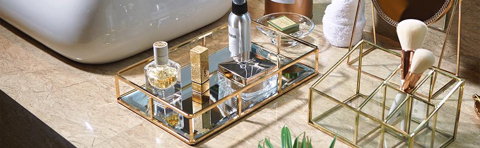 Amazon.com: PuTwo Tray Mirror, Gold Mirror Tray Perfume