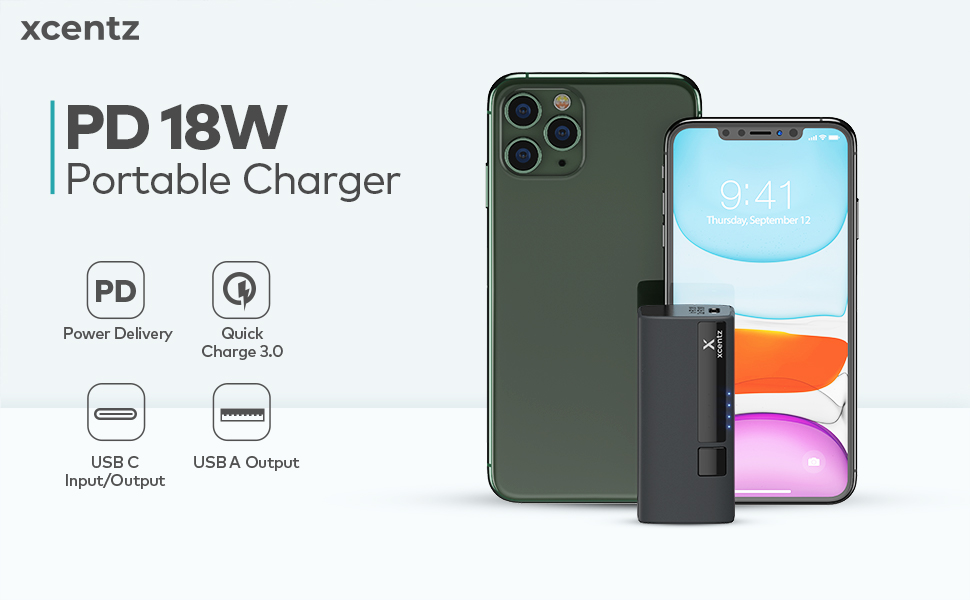Xcentz Smallest and Lightest 5000mAh Portable Charger with High Speed Charging 18W Power Delivery & Quick Charge 3.0 USB C Power Bank 5000 PD Fast ...