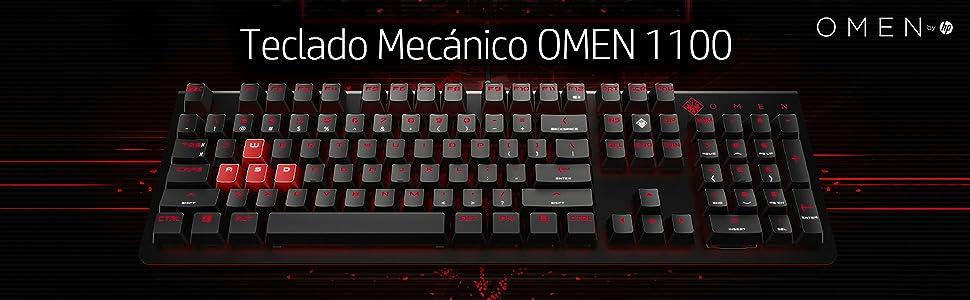 HP Omen 1100 N - Teclado mecánico iluminado para gaming con USB, color negro