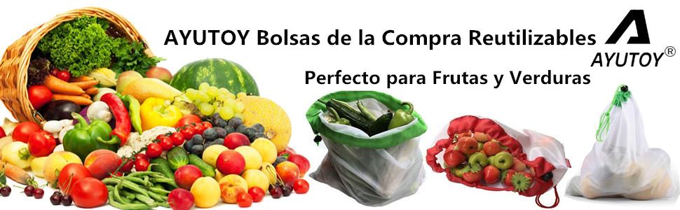 AYUTOY 12 Unidades Bolsas de la Compra Reutilizables Ecológicas ...