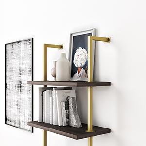 industrial bookshelf wood and metal, industrial ladder shelf bookcase, metal bookshelf, etagere