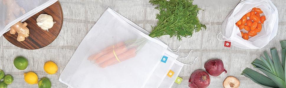 reusable produce bags, mesh produce bags, vegetable bags, fruit bags, large produce bags