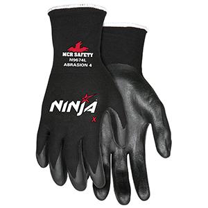 Memphis Glove N9674M Ninja X Nylon/Spandex Shell Gloves with Bi-Polymer Dipped Palm and Fingertips, Black, Medium, 1-Pair