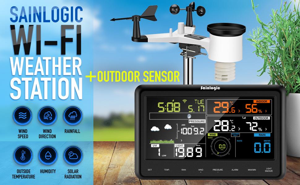 Sainlogic Pro Wifi Solar Powered Outdoor Sensor, Forecast, Color Display, Wunderground