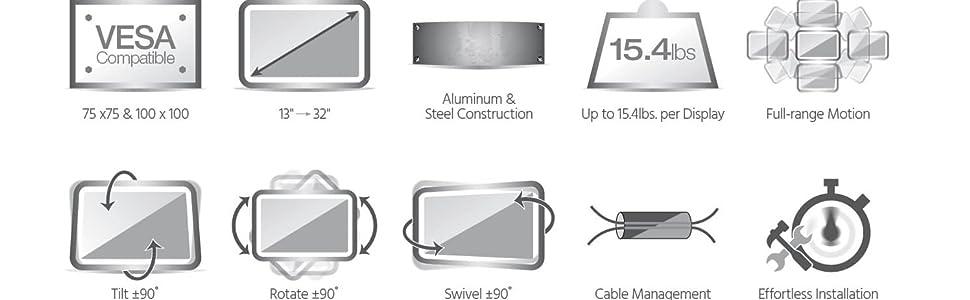 75x75 100x100 vesa compatible aluminum and steel construction up to 15.4lbs per display full range