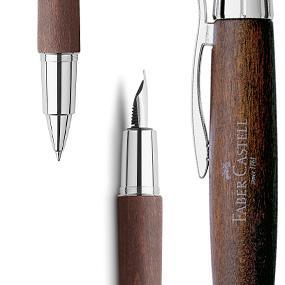 e-motion, pluma, estilografica, faber castell, madera, acero, bolígrafo, portaminas, roller, escritu