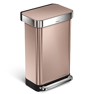 simplehuman 45L Rectangular Step Trash Can with Liner Pocket, Rose Gold, with 60 pack custom fit liner code M