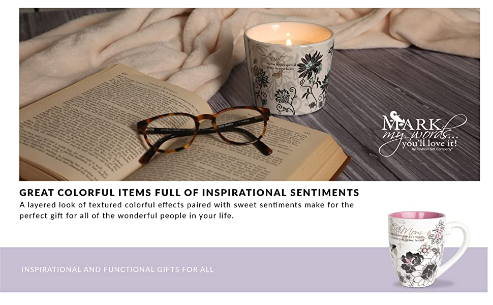 Mark My Words; gifts for her; gifts for him; mug; candle; plaque; clock; sentiment; inspiration; mom